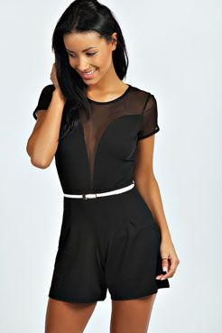 b93528696fe4 Evie Mesh Insert Capped Sleeve Playsuit at boohoo.com