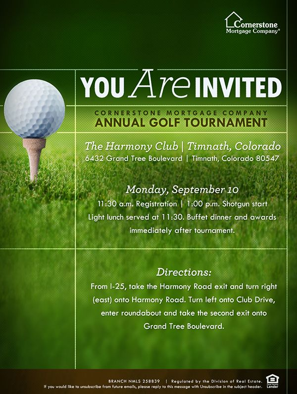This was collateral for Cornerstoneu0027s Colorado Branch They host - golf tournament flyer template