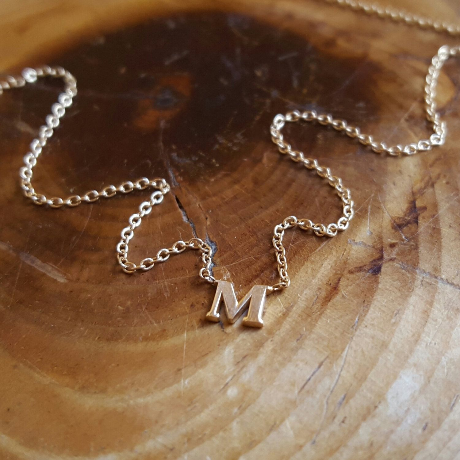 14K Gold Necklace Initial Necklace Womens Personalized Gift for