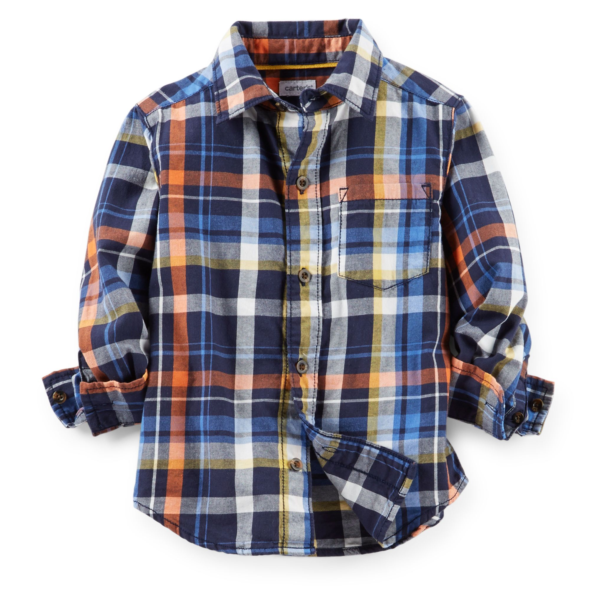 Orange flannel jacket  For my son with gray pants possibly a tan cardigan if itus cool