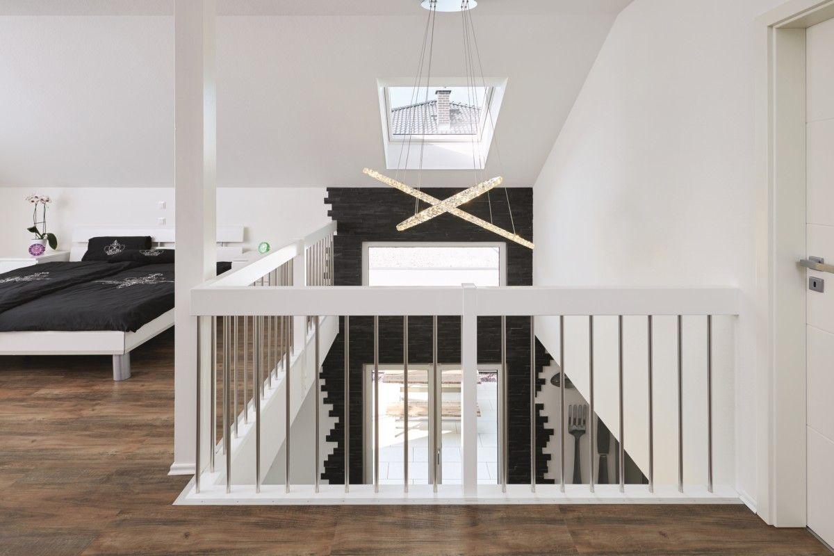 Schlafzimmer offen mit galerie wandgestaltung steinwand - Galerie schlafzimmer ...