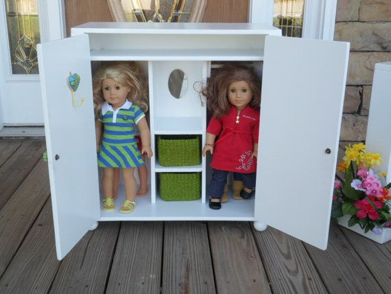 Doll Armoire / Wardrobe For 18 Dolls By IvyLeaCreations On Etsy