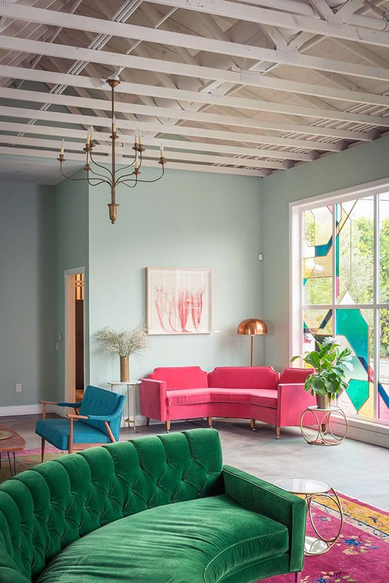 Marvelous Jewel Tone Furniture, Pale Walls   Rounded Shaped Furniture