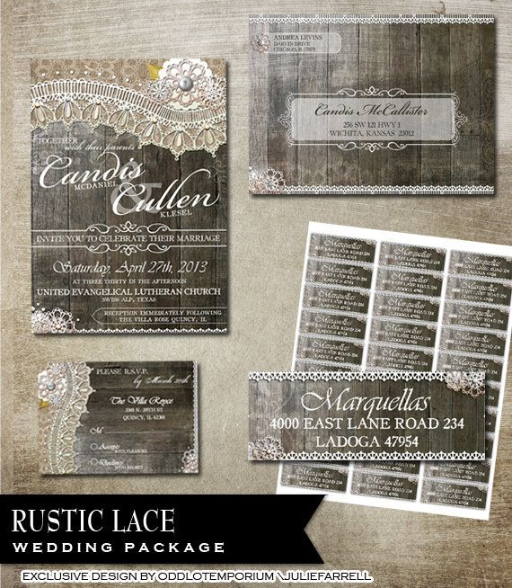 rustic lace wedding invitation rsvp envelope and avery label