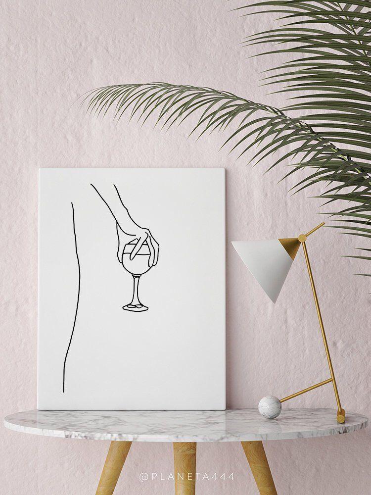 Photo of Holding A Wine Glass, Line Art, Wall Art, Feminine Poster, Naked Drinking, Minimalist Print, Kitchen Art, Woman Art, Fashion Poster, Female