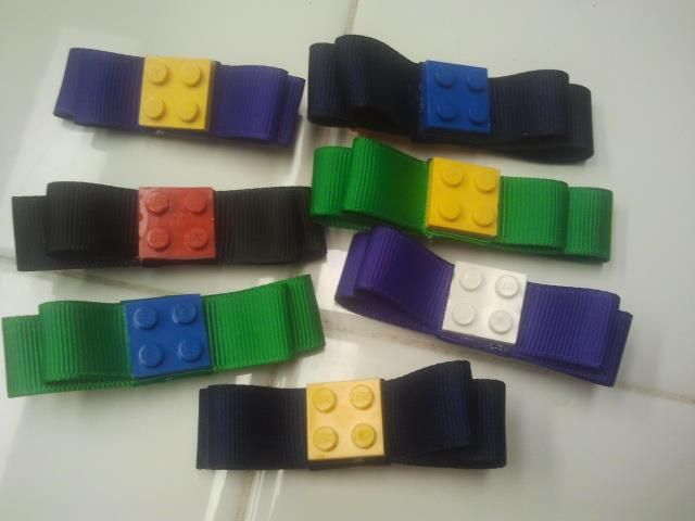 Lego hair bows made by Kailyn's Unique Bow-tique. See more ideas at www.facebook.com/KailynsUniqueBowtique