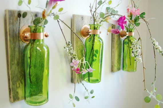 Rustic Glass Bottle Trio Farmhouse Style Wall Decor Farmhouse