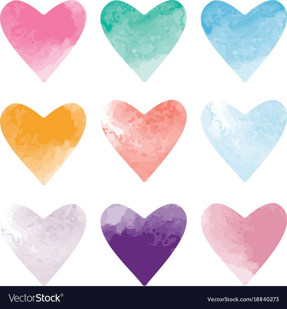 Set Of Watercolor Hearts Vector Image On Watercolor Heart