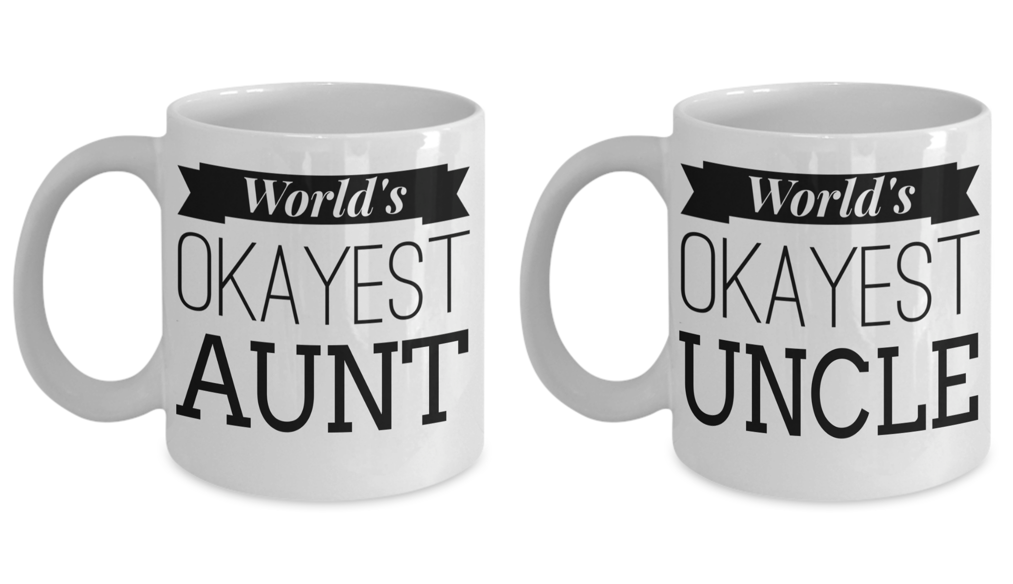 Worlds Okayest Aunt Dad Mugs - Aunt Uncle Gifts - New Aunt Mug ...