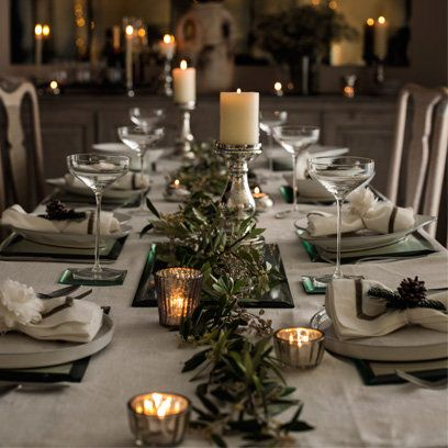 gray green christmas table the white company it really doesnt have to be red - Green Christmas Table Decorations
