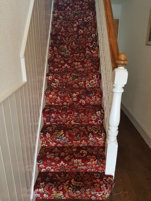 Red Patterned Stair Carpet In North London Residence