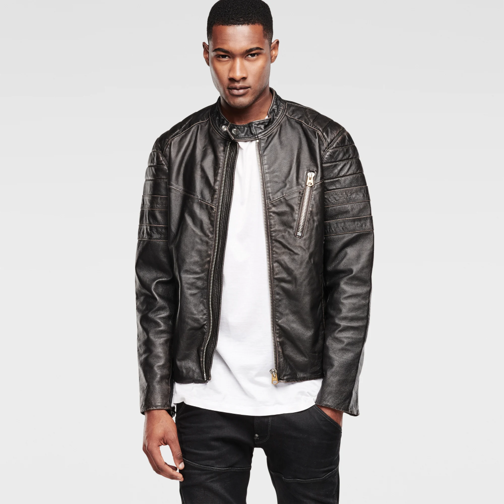 Biker Leather Jacket Black G Star Raw Leather Jacket Black Jackets Biker Leather [ 1000 x 1000 Pixel ]