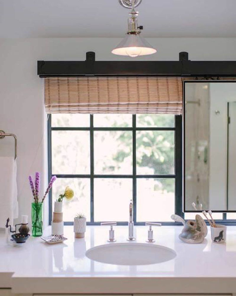 Our Box Track was used to hang the sliding vanity mirror in ...