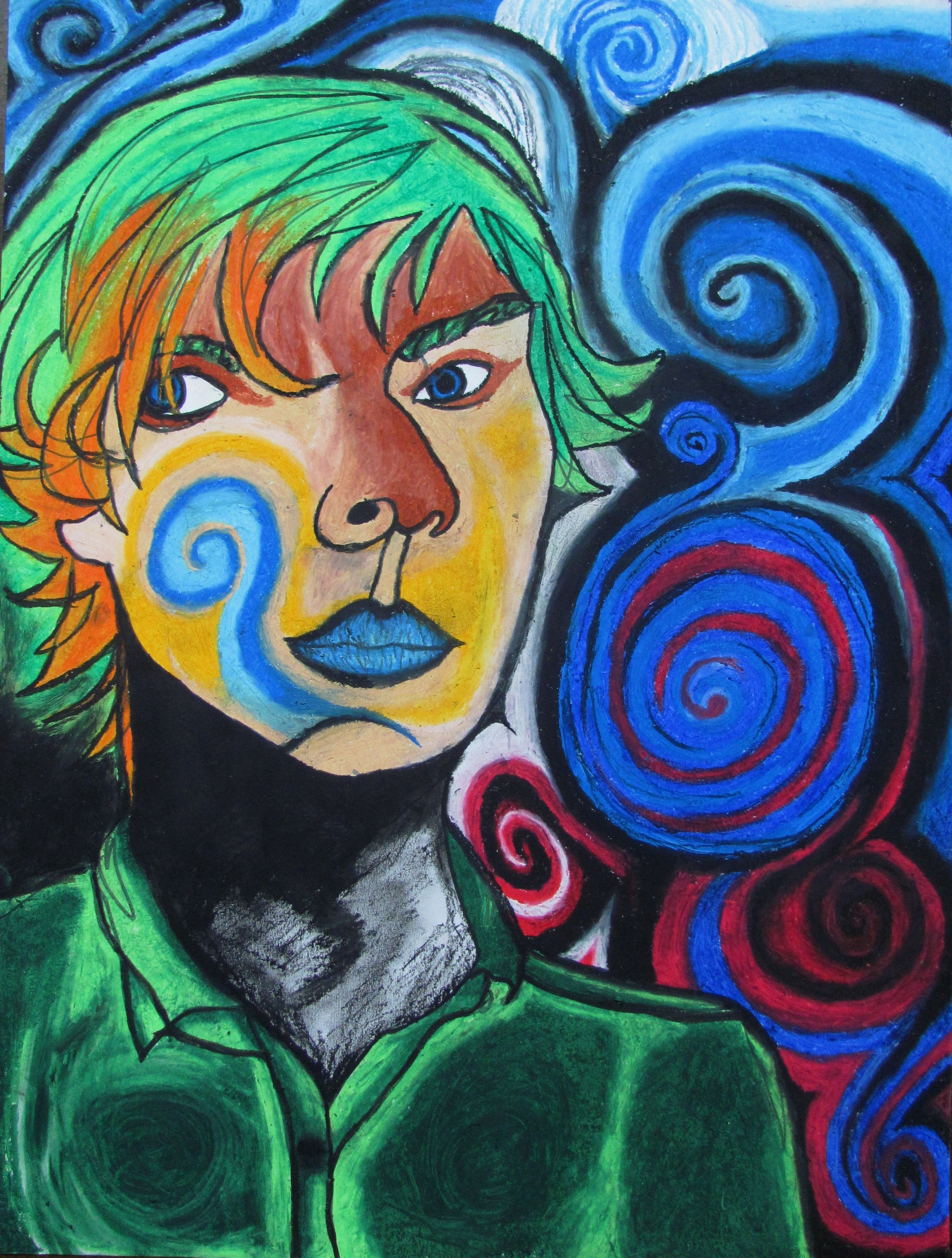 Continuous Line Drawing W Oil Pastel Expressive Self