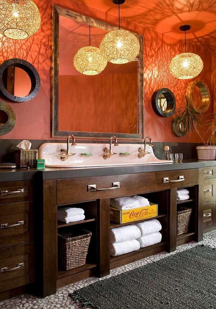 Aménagement salle de bains turquoise, rose orange 25 idées ...