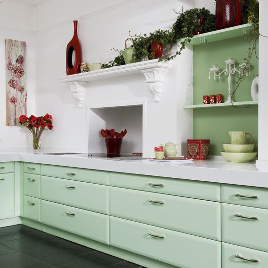 Mint Green Kitchen Paint: Color Combo: Mint Green & Apple Spice Red
