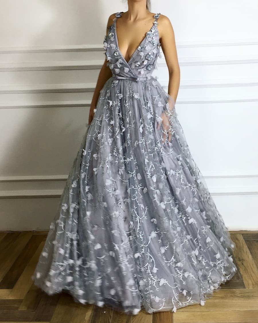 Deep vneck long prom dresses flowers grey evening dresses aline