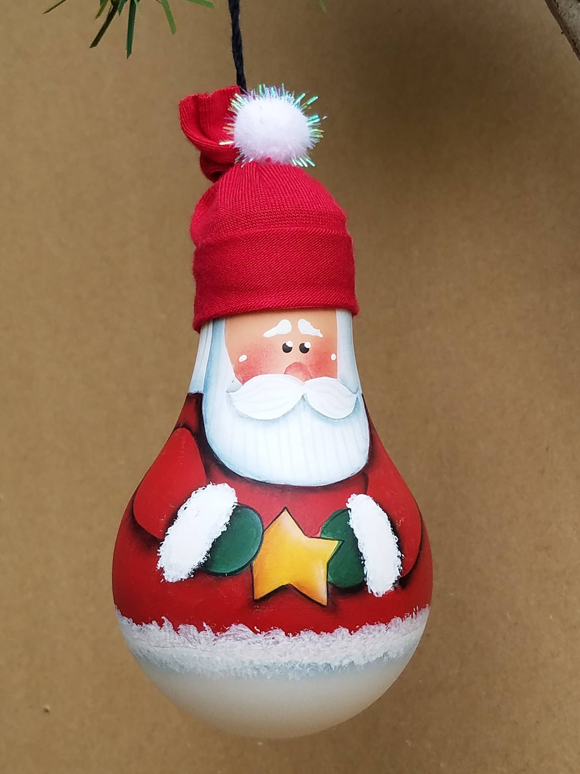 Santa Light Bulb Ornament Etsy Christmas Ornament Crafts Hanging Christmas Lights Ornament Crafts