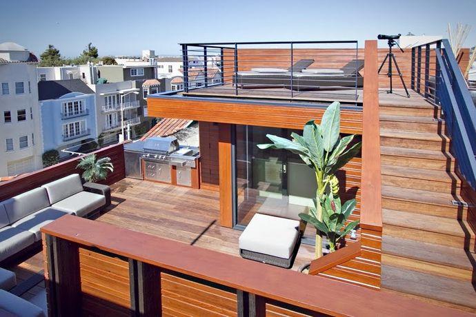 キッチンとbbqグリル付き サイコーに贅沢な屋上のテラスの屋外リビングスペース 屋外リビングスペース 自宅で ホームウェア