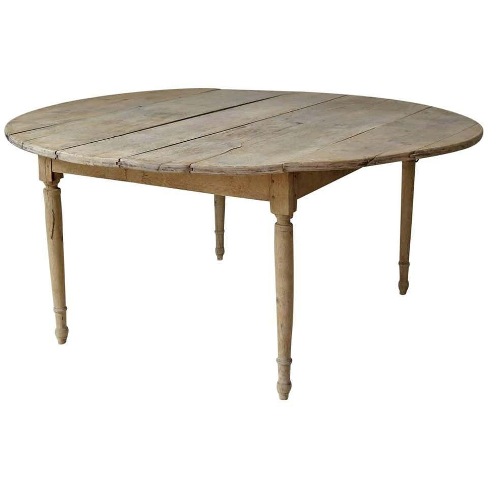 Large Round 19th Century Drop Leaf Oak Dining Table From France