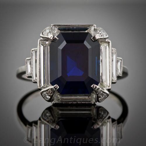 5.00 Carat Art Deco Sapphire and Diamond Ring