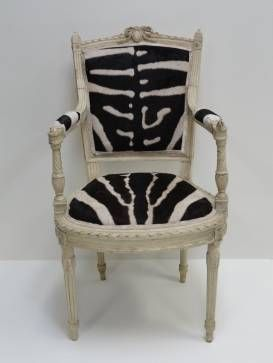 Single #antique #French #chair with grey painted carved #wood frame and #zebra #upholstered in #NYC #Mecox #interiordesign #MecoxGardens #furniture #shopping #home #decor #design #room #designidea #vintage #garden #NewYork