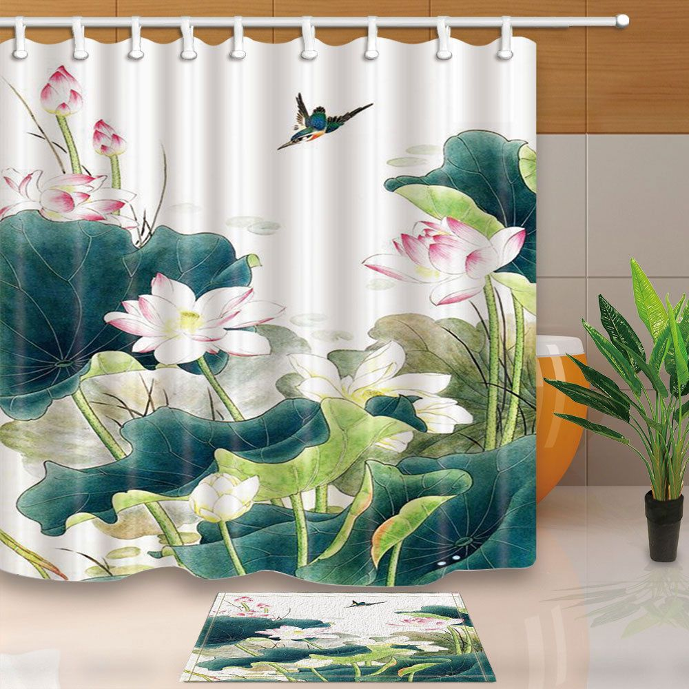 Details About Lotus And Hummingbird Shower Curtain Home Bedroom