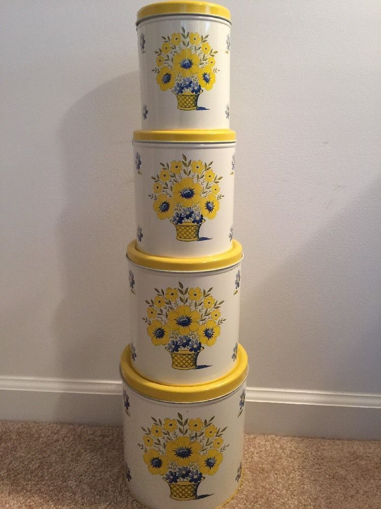 Vintage Metal Kitchen Canister Set Of 4 Decoware Yellow