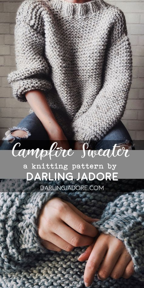 Photo of Campfire Sweater Strikkeoppskrift, Chunky Strikkegenser | Darling Jadore