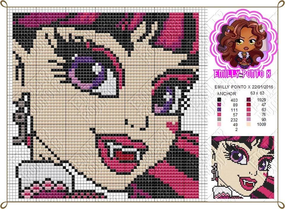 1.jpg (960×705) | monster high | Pinterest | Punto de cruz, Puntos y ...