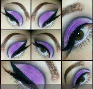 Purples and a light color on bottom eyelid