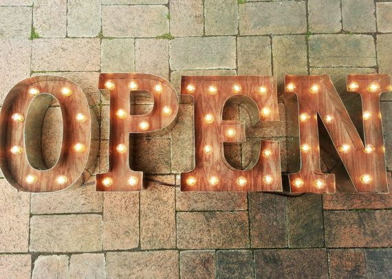 Metal Wall Light Letters : OPEN SIGN Letters Custom Business Marquee light up letters, Rustic Industrial Marque lighting w ...
