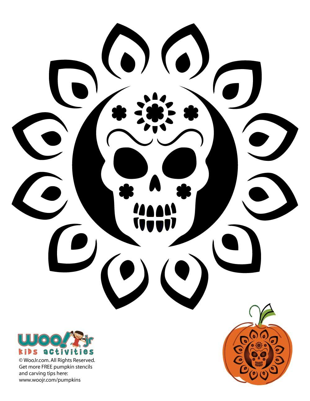 Day Of The Dead Pumpkin Carving Stencils Woo Jr Kids Activities Pumpkin Carvings Stencils Pumpkin Carving Halloween Pumpkin Stencils