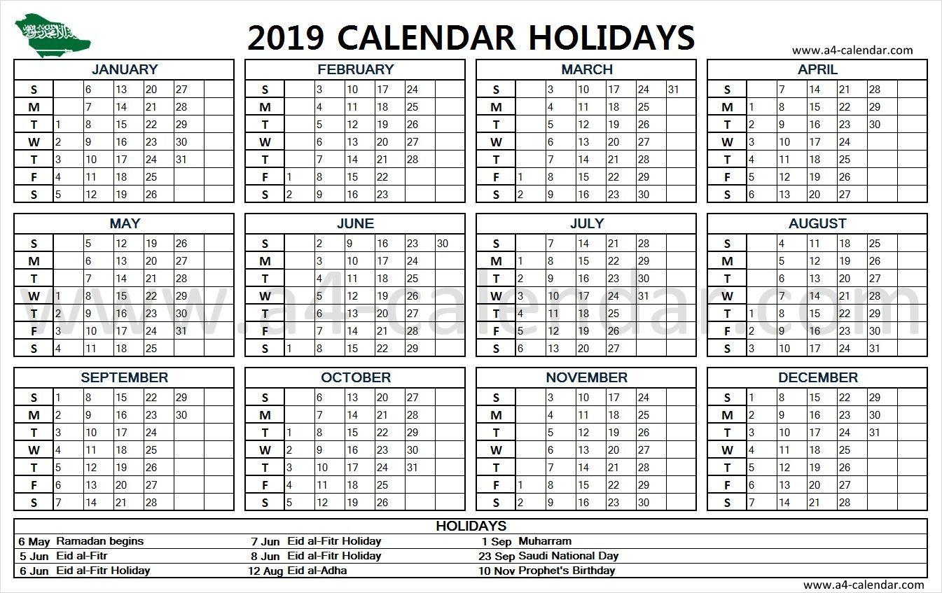 2019 Saudi Arabia Holidays Holiday Calendar
