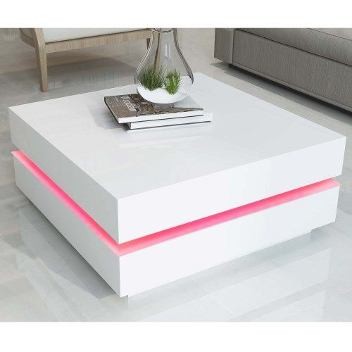 Tiffany White High Gloss Cubic Led Coffee Table In 2019 Coffee Table With Stools Tea Table Design Table Furniture