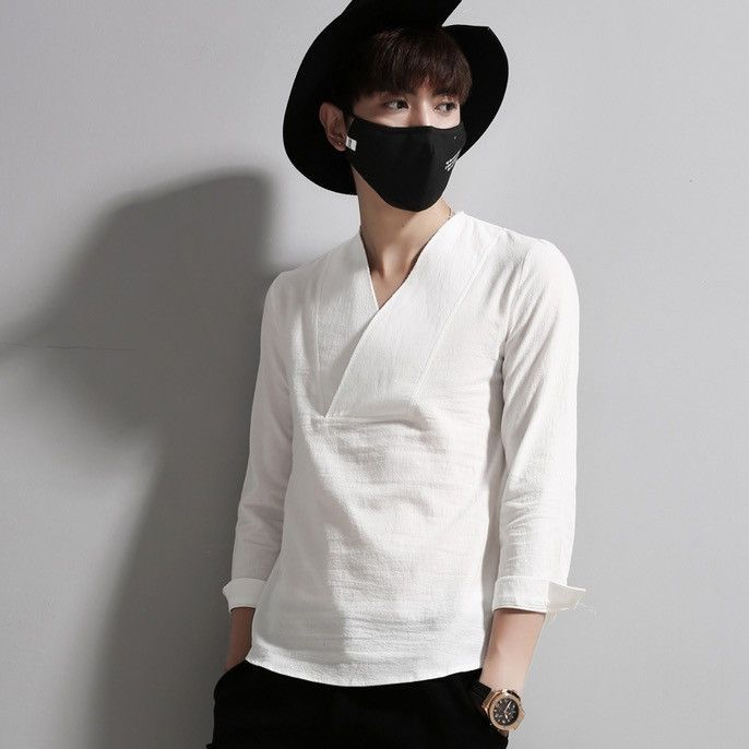 Three Quarters Chinese Style Linen Shirts