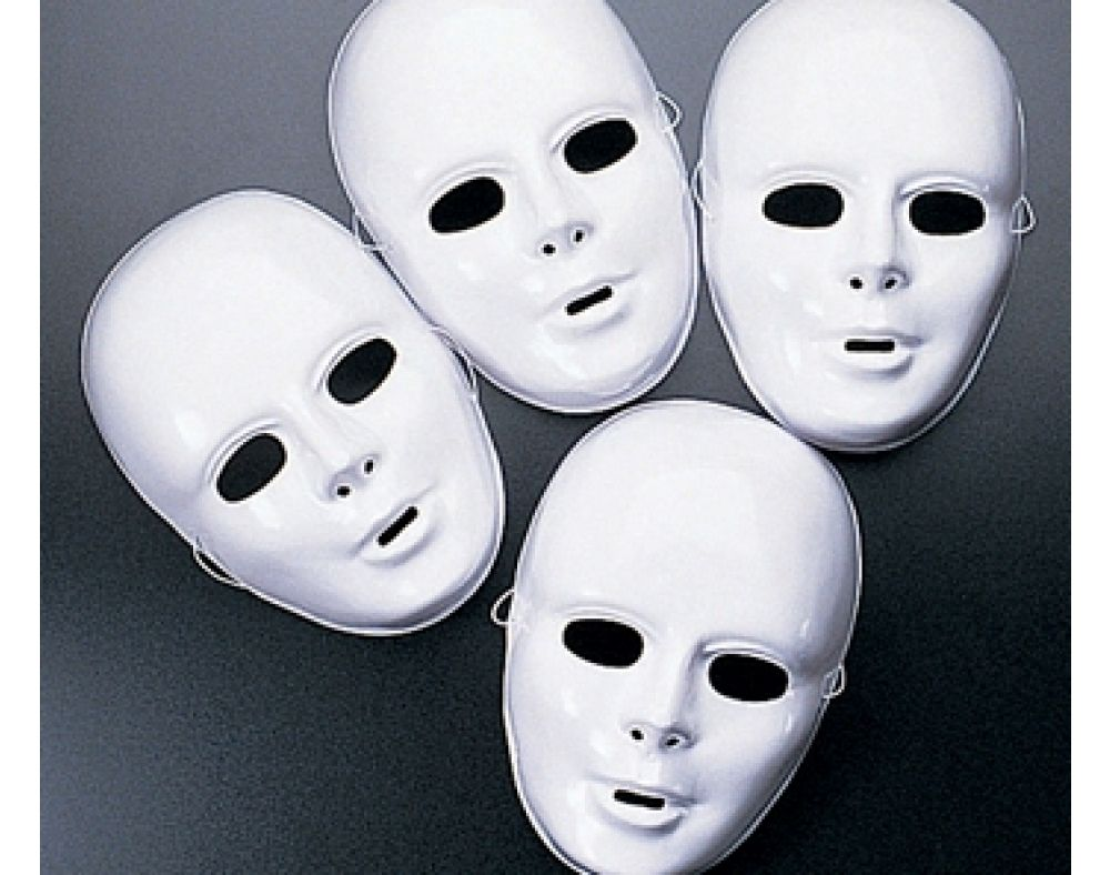 Plastic Masks To Decorate 12 White Full Face High Sheen Plastic Masks  Halloween