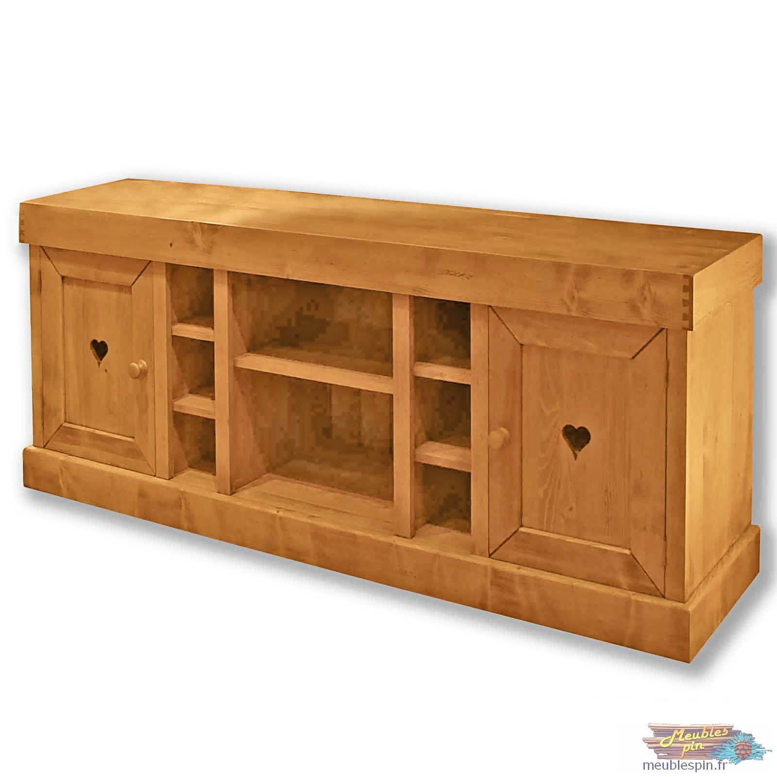 Meuble En Pin Ciré grand meuble tv en pin massif ciré 180 cm | grand meuble