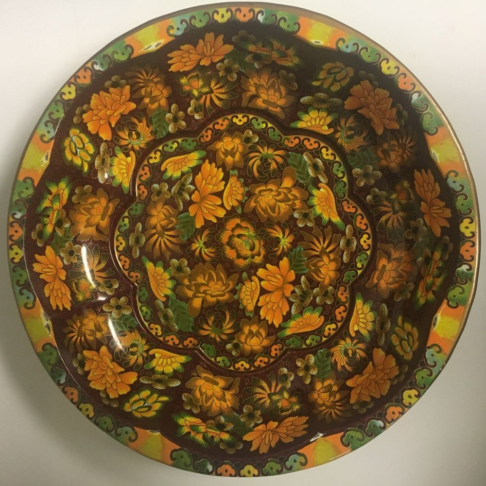 Vintage Daher Decorated Ware Colorful Round Metal Tin Painted Tray
