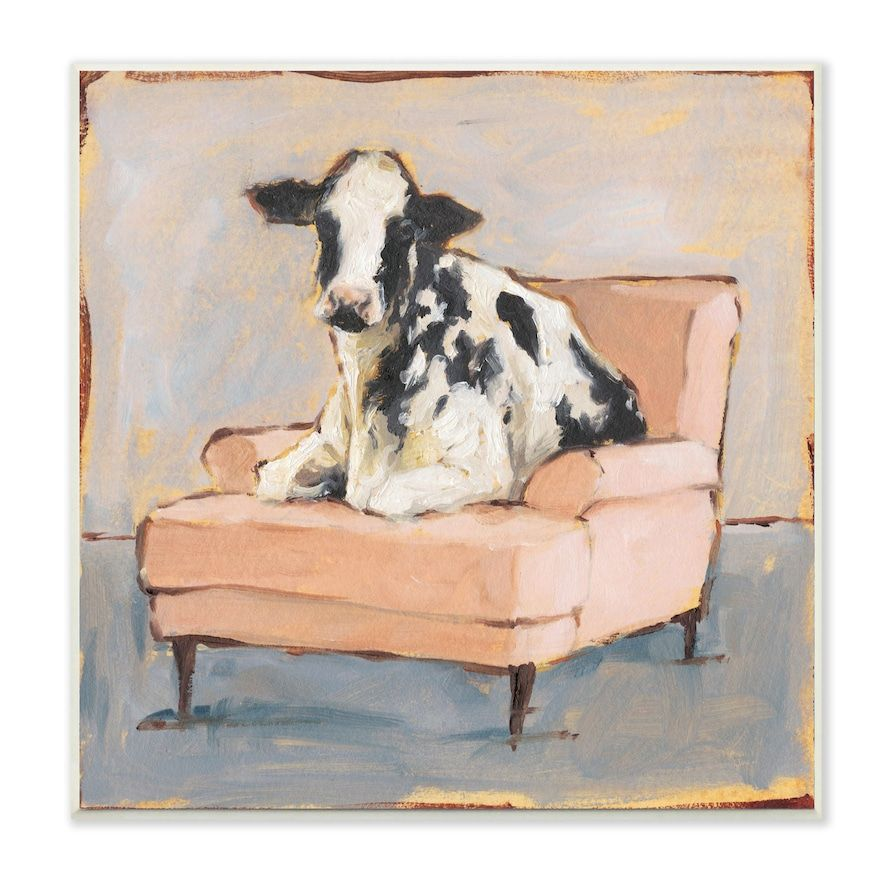 Stupell Home Decor Baby Calf On A Pink Couch Wall Art Cow Art Print Cow Art Cow Painting