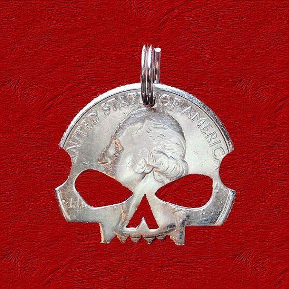 Skull Necklace Skull Pendant Skull  Keychain Cut by ScribesChoice, $19.00