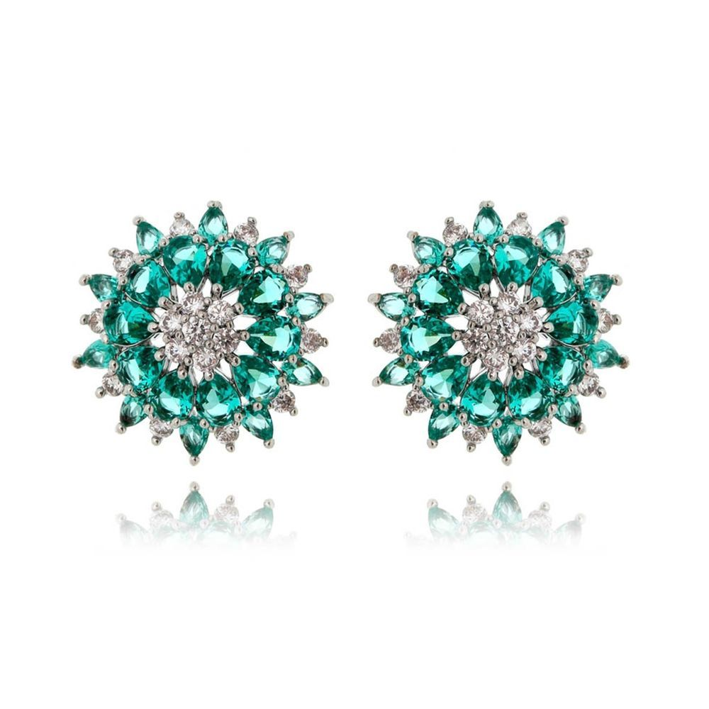 Brinco moderno turmalina com zirconias cristais semi joias de luxo   Waufen  Semi Joias Finas 676f6672d5