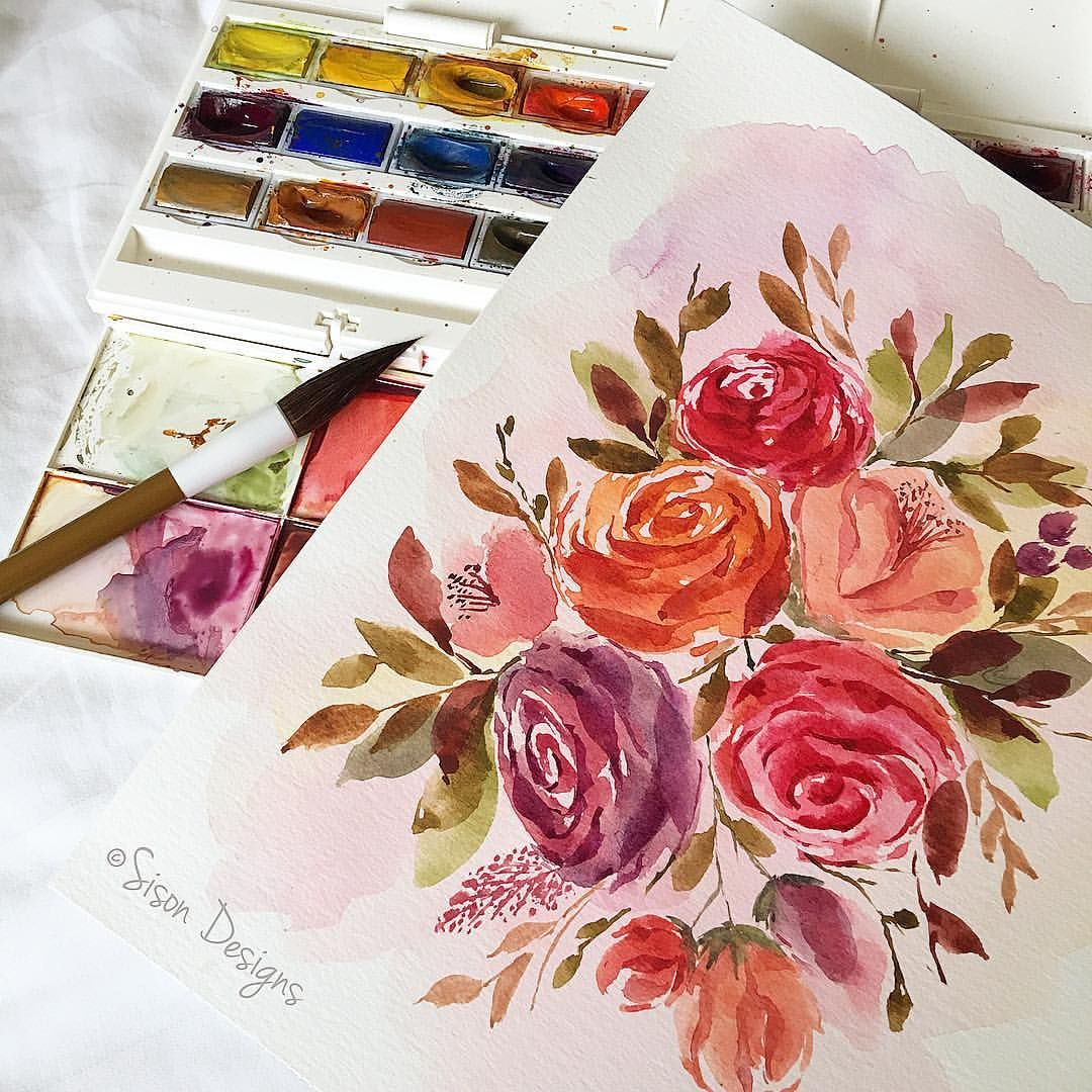 Watercolor Flower Bunch Watercolor Flowers Paintings Watercolor