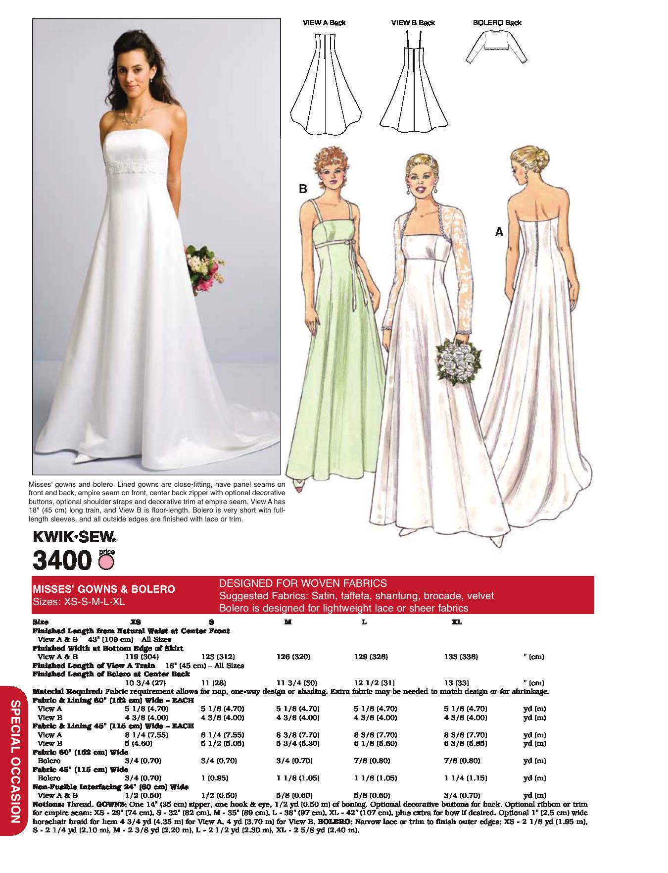 K3400 misses bridal gown bolero wedding dress patterns k3400 misses bridal gown bolero pattern makingsew jeuxipadfo Image collections