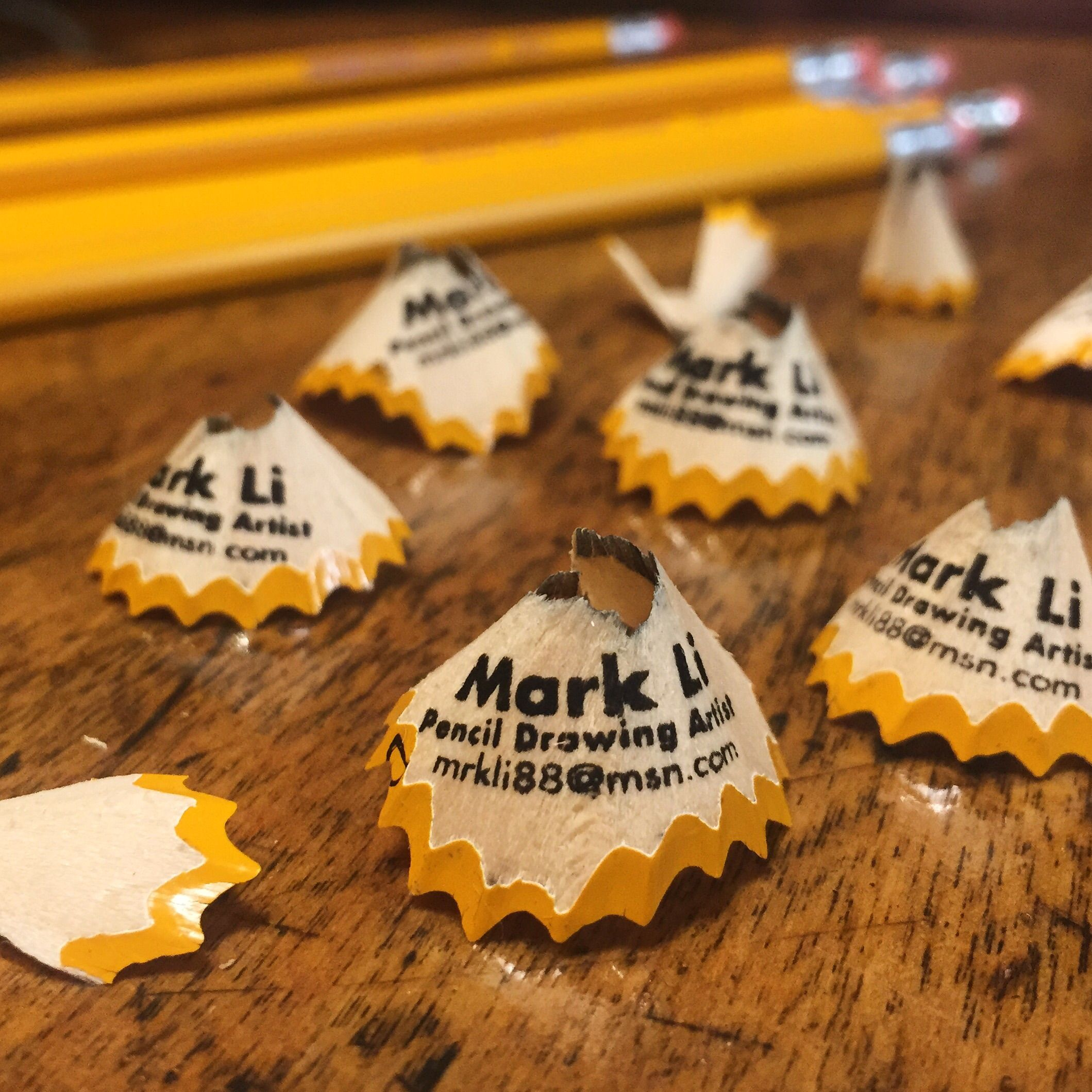 Pencil shavings turned into tiny business cards! Produced by ...