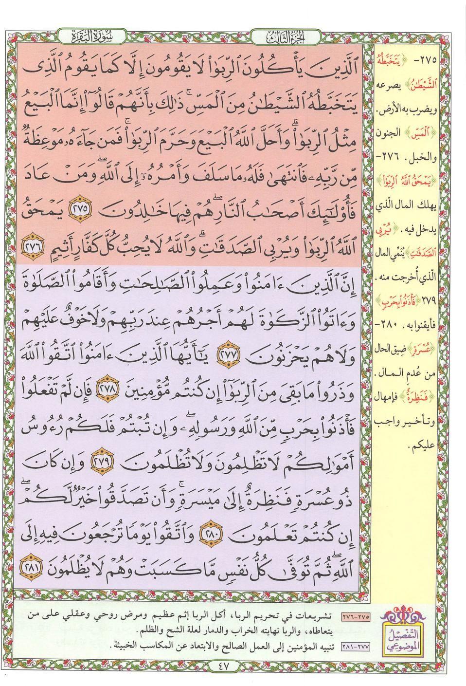 ٢٧٥ ٢٨١ البقرة مصحف التفصيل الموضوعي Quran Verses Bullet Journal Verses