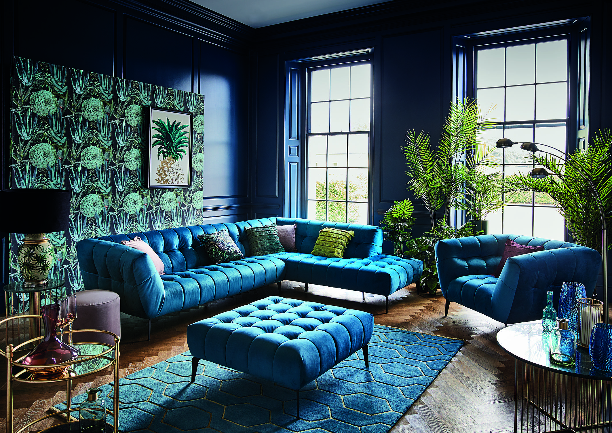Midnight Tropics Channels A Covetable Palette Of Teal And Navy Offset By Bold Geometric And Stateme Glamour Living Room Living Room Turquoise Teal Living Rooms #teal #and #navy #blue #living #room