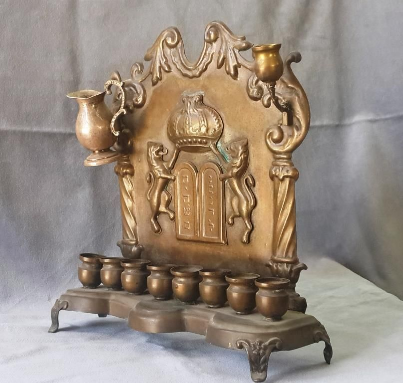 Antique Hanukkah Menorah 19thC Polish Warsaw Copper Commandments and Lions