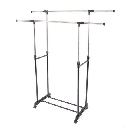 Ktaxon Double Rail Rolling Garment Rack Adjustable Clothes Drying