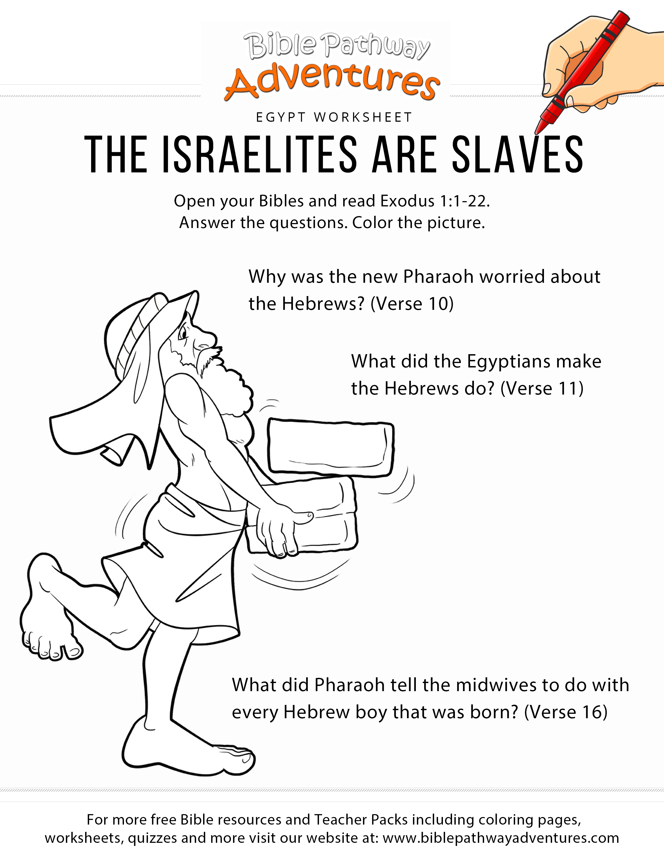 The Israelites Are Slaves Worksheet Amp Coloring Page